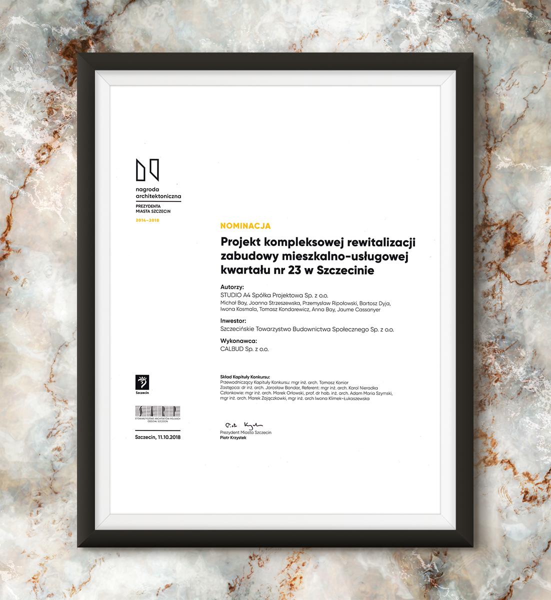 Nagroda Architektoniczna Prezydenta Miasta Szczecin 2014-2018 - Kwartał 23